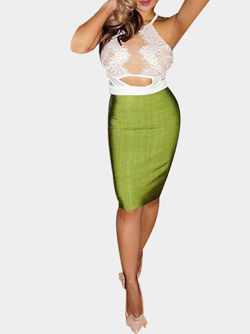 Apricot Lace Top and Green Pencil Skirt Co-ords