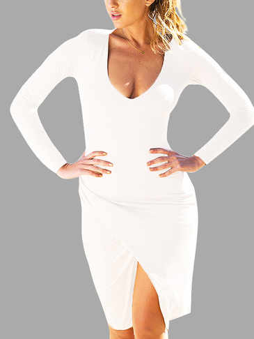 White Plunging Long Sleeves Dress With Splited Hem
