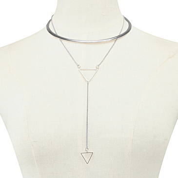 Silvery Plated Collar Necklace With Triangle Pendant