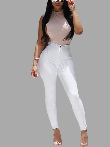 White High Waist Causal Pants