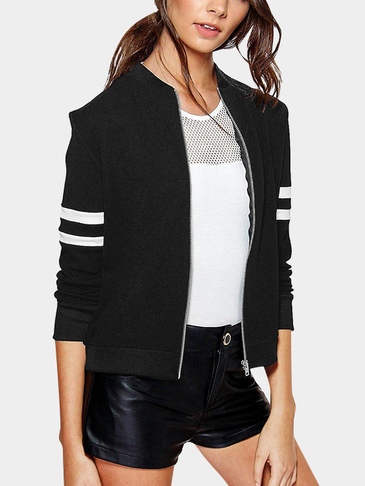 Black Minimalism Lightweight Stripe Design Fashion Jacket