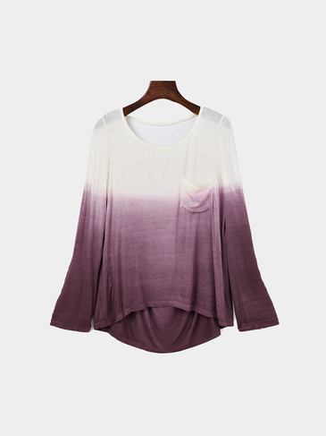 Gradient Backless Long Sleeves T-shirt with Round Neck