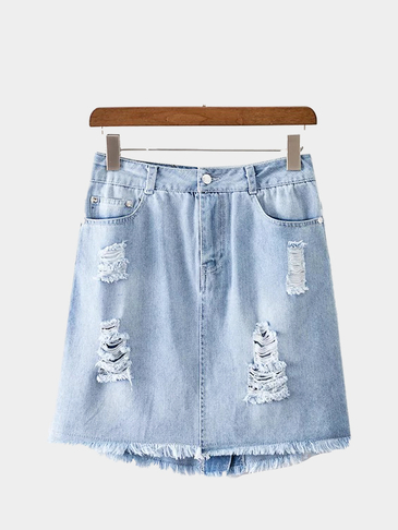 Ripped Button Jupe en denim