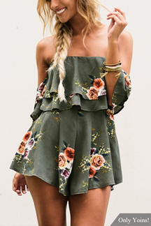 Green Off-The-Shoulder & Layered Détails Random Floral Print Romper