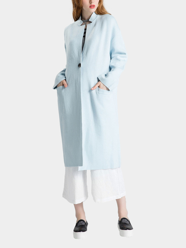 Light Blue Stand Collar Dropped Shoulder Longline Cardigan