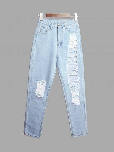 Boyfriend Denim Jeans With Shredded Rips
