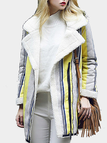 Stripe Pattern Shealring Suedette Coat