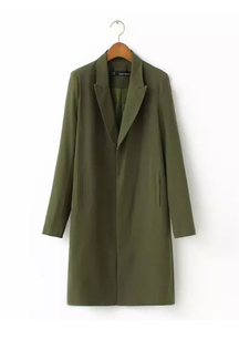 Green Long Pea Trench Coat