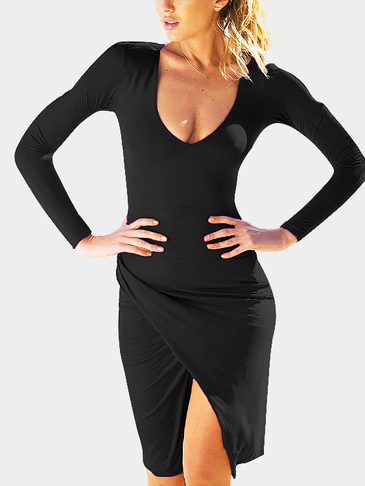Black Plunging Long Sleeves Dress With Splited Hem