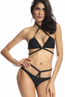 Black Halter Strappy Bikini Set