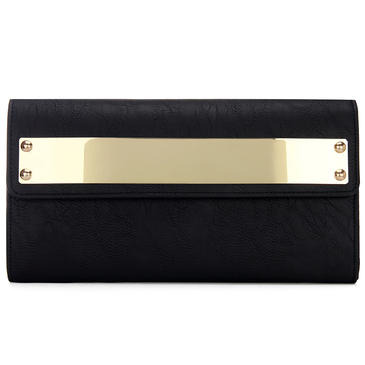 Black Leather-look Across Body Clutch Bag with Gold-tone Metal