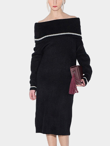 Thickened Knitted Off shoulder Midi Dress in Black