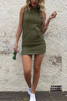 Army Green Casual Hoodie Mini Dress