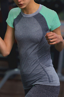 Neon Green & Grey Color-Block Gym T-shirt
