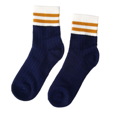 Stripe Soft Party Crew Anklet Socks in Navy