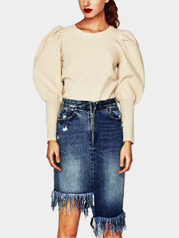 Blue Fashion Tassel Details Irregular Denim Skirts