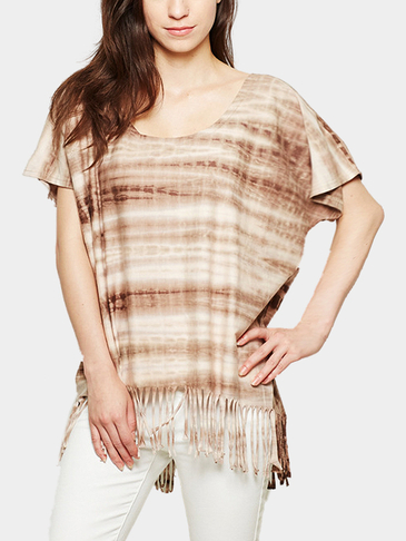 Brown Bat-wing Sleeves Tassel Details Casual T-shirt
