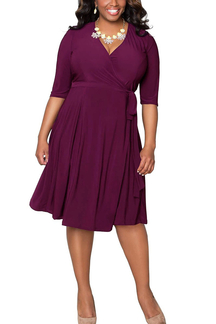Purple Plus Size Cropped Sleeves Wrap Dress