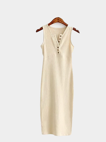 Beige Sexy Sleeveless Buttons V Neck Side Slit Dress