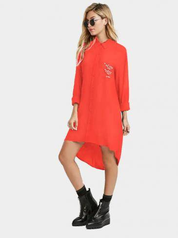 Graphic Shirt Dress in Orange