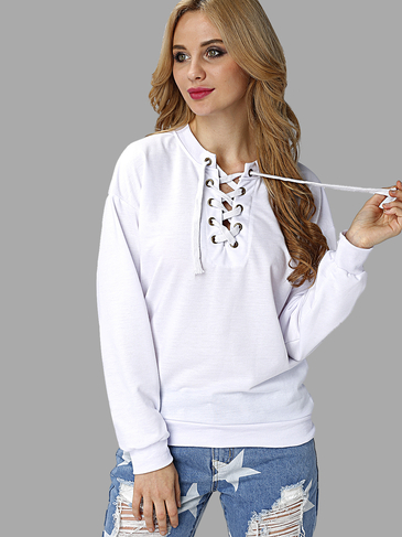 White Causal Lace-up Manga comprida Sweatshirts