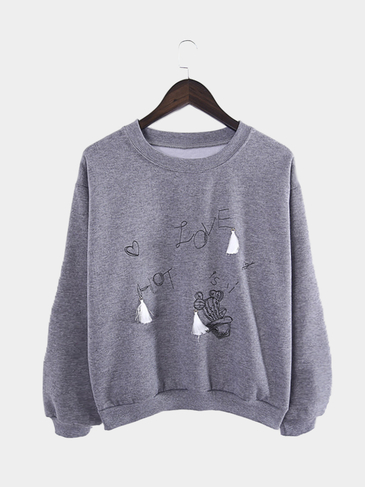 Dark Grey Loose Crew Neck Hot Love Letter Sweatshirt