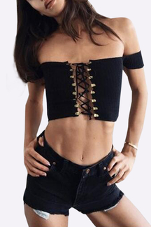 Black Off-The-Shoulder Plunging Criss-Cross Crop Top