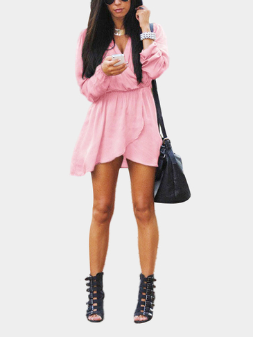 Pink V-neck Elastic Waist Irregular Hem Mini Dress with Long Seeves