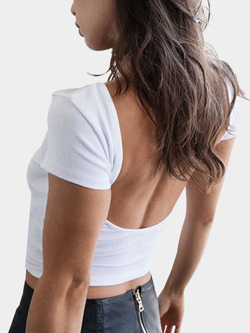 White Sexy Backless Knit Short Sleeves Crop Top