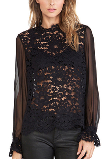 Black See-Through Lace Chiffon Blouse