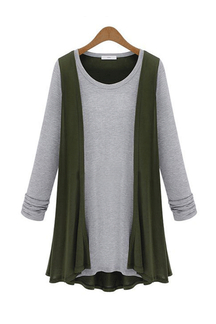 Plus Size Green Two-in-one Cardigan Shirt
