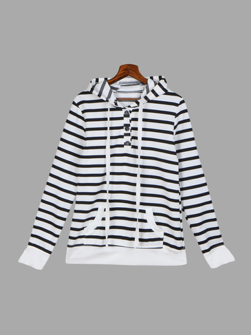 Stripe Pattern Hooded Button Closure Sweatshirt with Pocket