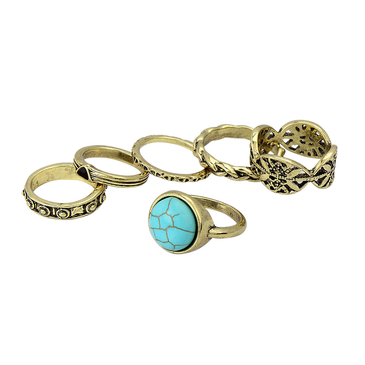 Turquoise Etched Ring Set
