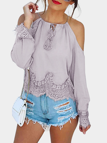 Light Purple Lace Hem Cold Shoulder Blouse