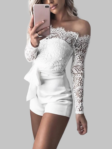 White Lace Details Off Shoulder Playsuits com cinto