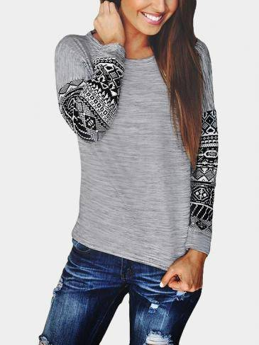 Grey Floral Print Long Sleeves T-shirt