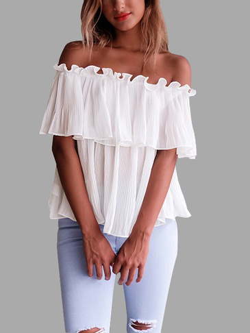 White See-through Pleated Design Off Shoulder Blouse