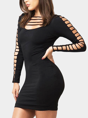 Black Strappy Hollow Design Cold Shoulder Mini Dress
