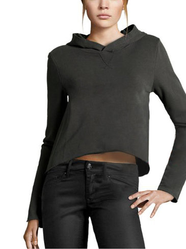 Leisure Plain Color Hooded Crop Design Sweatshirt