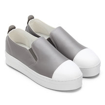 Grey Round Toe Slip-on Loafers
