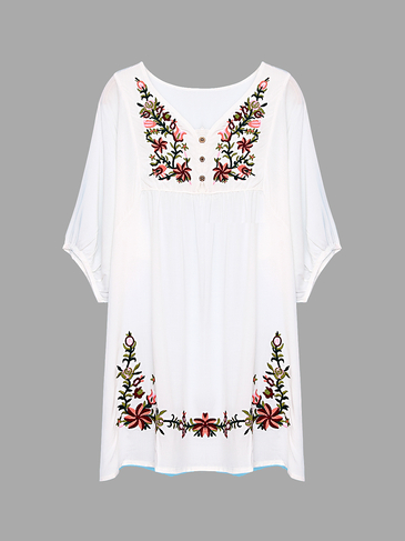White V-neck 1/2 Length Sleeve Embroidery Pattern Dress