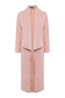 Pink Wide Lapel Duster Coat Pocket