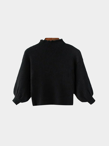Plain Black Color High Neck Lantern Sleeve Knitwear