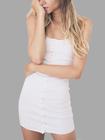 White Button Front Design Vest Mini Dress