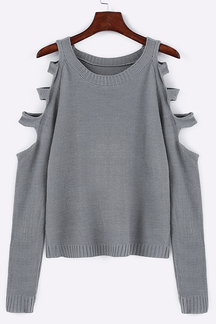Grey Round Neck Hollow Out Pullover