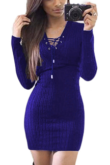 Blue Knitted V-neck Lace-up Front Mini Dress