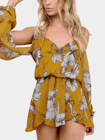Cold Shoulder Random Floral Print Stretch Waist Playsuit