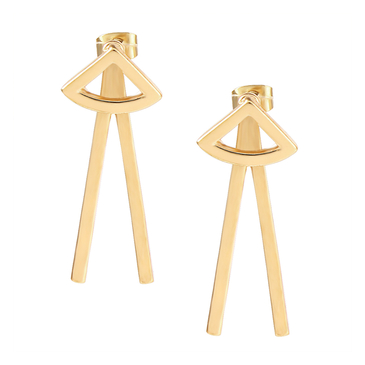 Glod Plated Triangle Pattern Stud Earrings