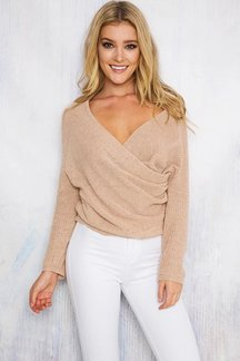 Бежевый Sexy Off-Shoulder Wipped Sweater