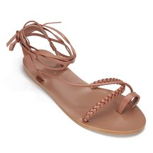 Brown Leather Look Woven Detail Lace-up Cross Flat Sandals